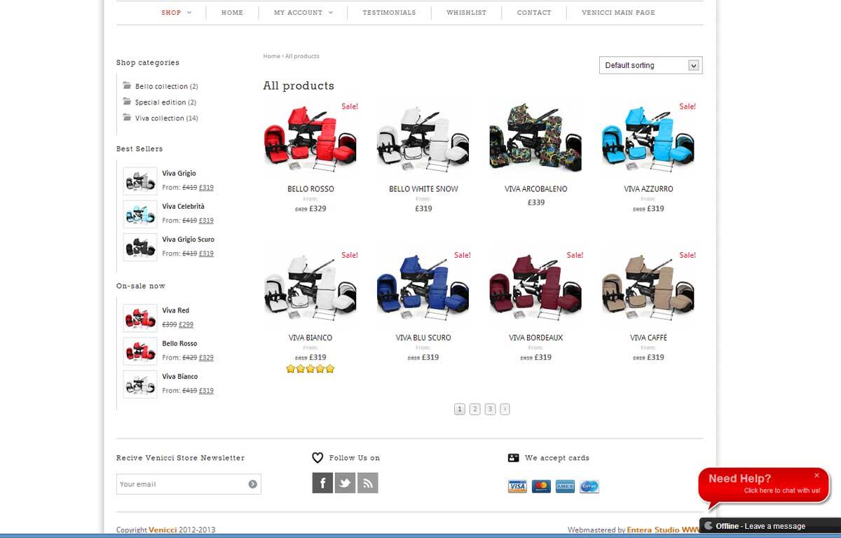 Sklep internetowy marki Venicci zaprojektowany przez Entera Studio WWW - katalog produktów