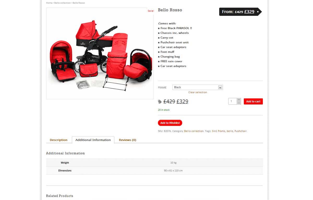 Sklep internetowy marki Venicci zaprojektowany przez Entera Studio WWW - karta produktu
