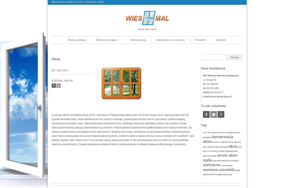 Strona www dla firmy Wiesmal autorstwa Entera Studio WWW - prezentacja produktu