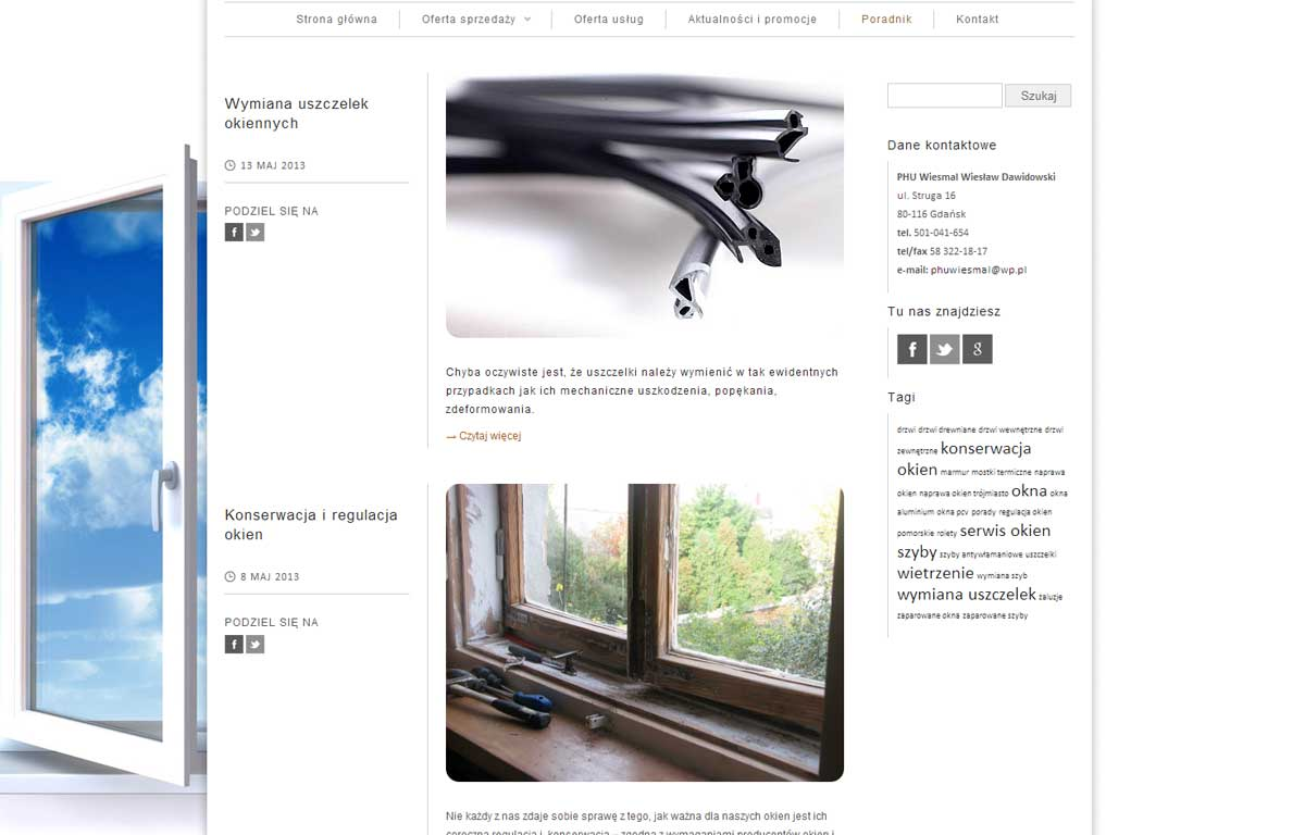Strona www dla firmy Wiesmal autorstwa Entera Studio WWW - poradnik w formie bloga