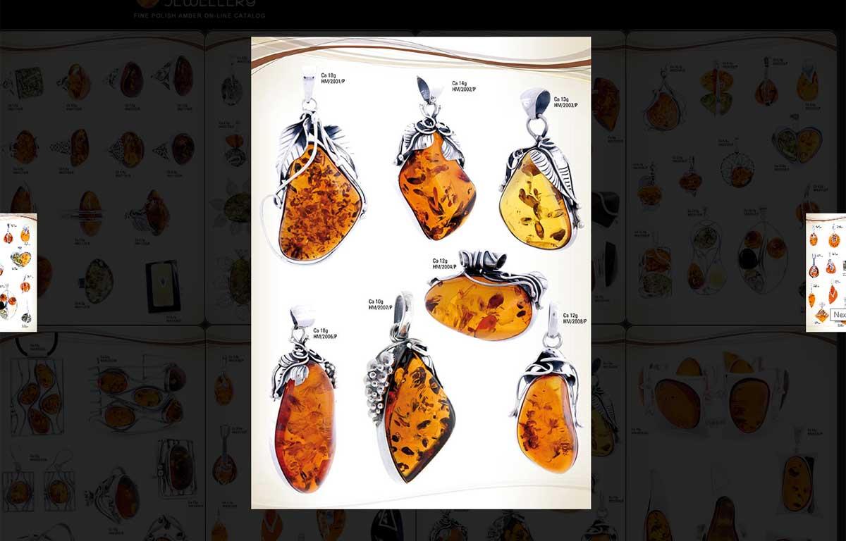 Katalog ekskluzywnej biżuterii z bursztynu zaprojektowany przez Entera Studio WWW - slideshow