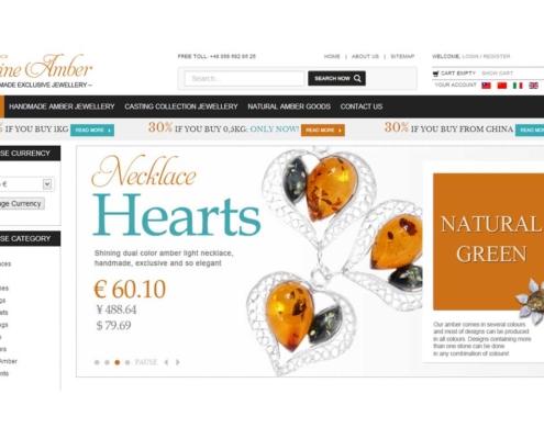 Sklep internetowy z bursztynową biżuterią - strona startowa