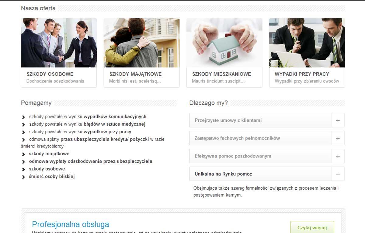 Strona www Krajowego Centrum Odszkodowań i Rekompensat - prezentacja oferty