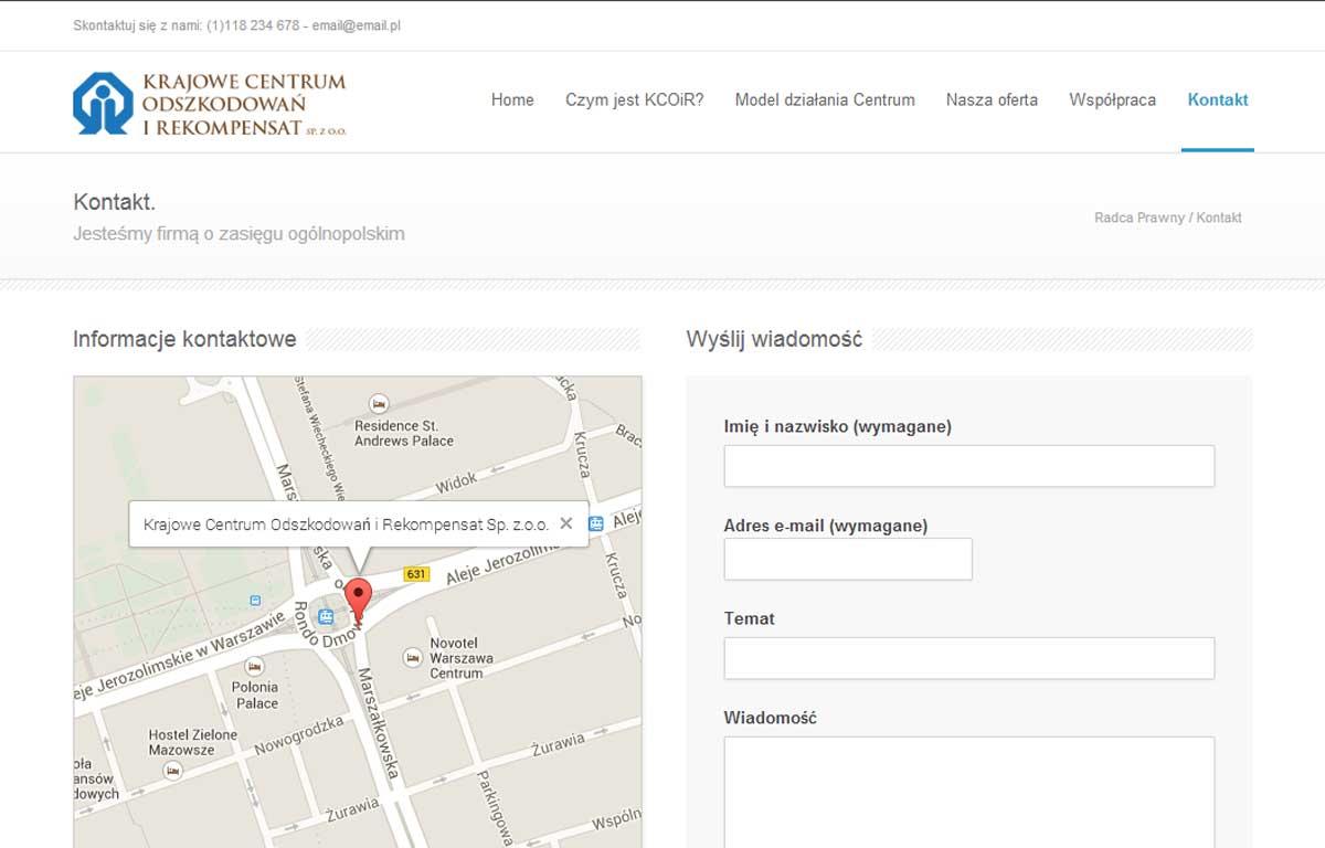Strona www Krajowego Centrum Odszkodowań i Rekompensat - kontakt