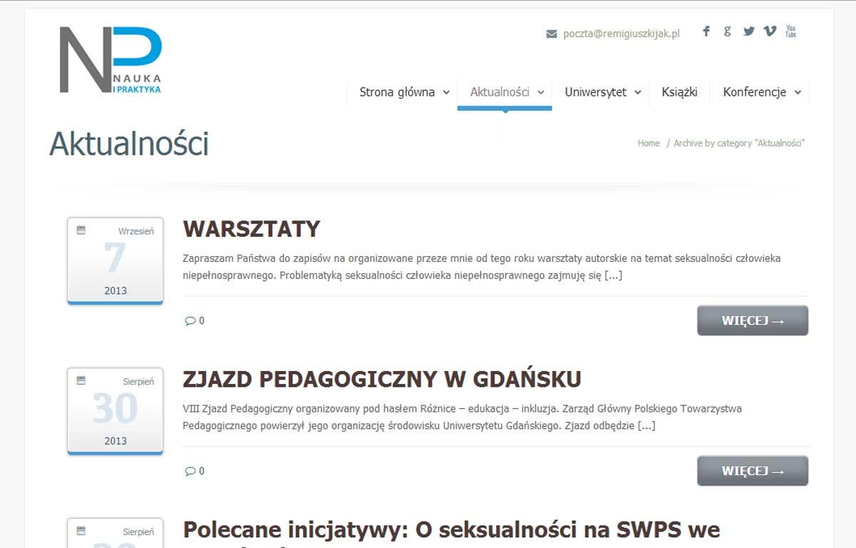 Strona www Nauka i Praktyka - aktualności