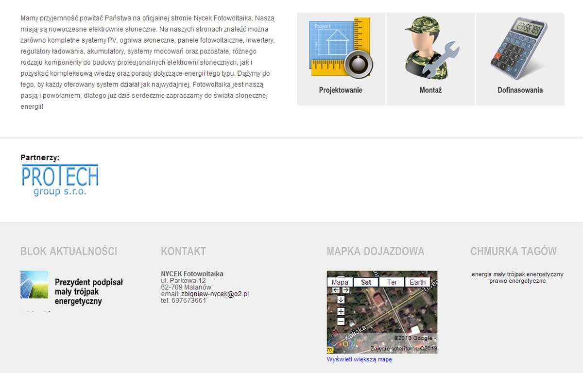 Strona www NYCEK Fotowoltaika - sekcja ofertowa