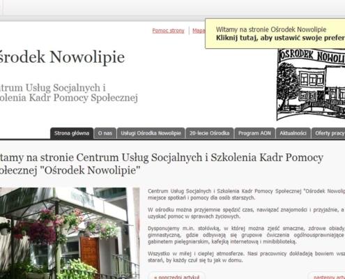 Strona www Ośrodka Nowolipie zgodna z WCAG 2.0, zaprojektowana przez Entera Studio WWW