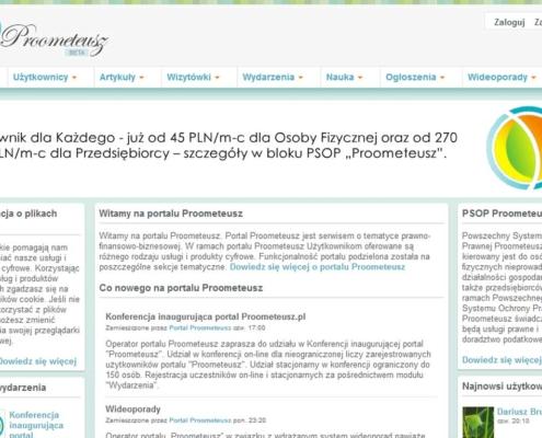 Portal Proometeusz - strona startowa