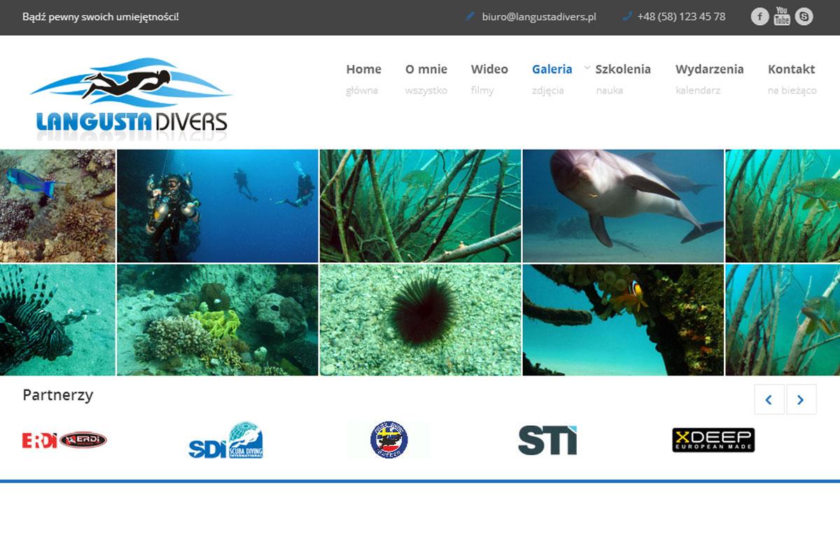 Strona www centrum nurkowego LangustaDivers zaprojektowana przez Entera Studio WWW - galeria zdjęć