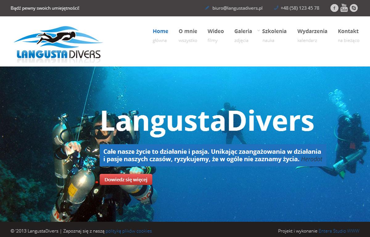 Strona www centrum nurkowego LangustaDivers zaprojektowana przez Entera Studio WWW - strona główna