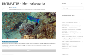 Strona www centrum nurkowego LangustaDivers zaprojektowana przez Entera Studio WWW - oferta szkoleń