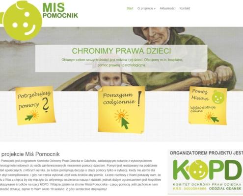 Strona www Misia Pomocnika zaprojektowana przez Entera Studio WWW - strona główna