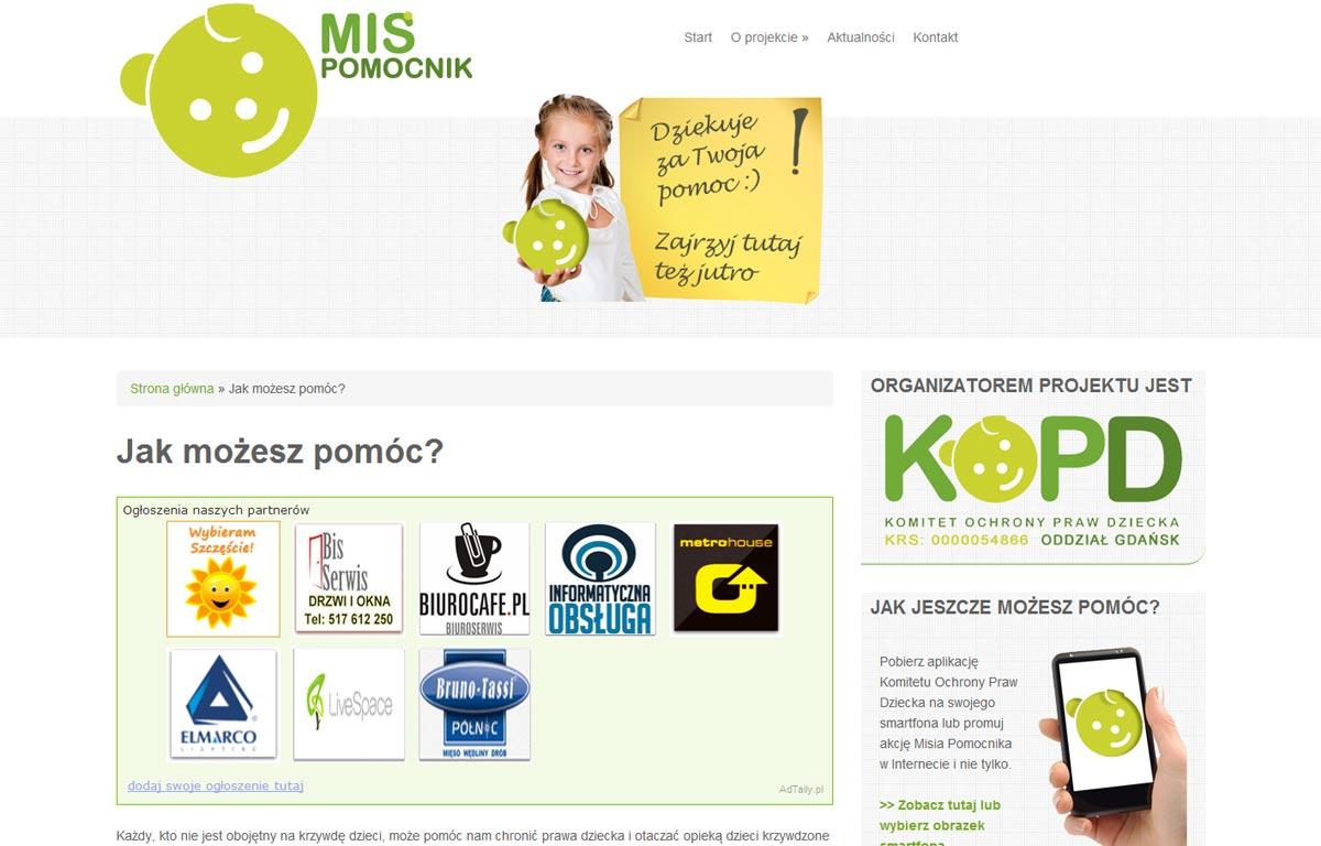 Strona www Misia Pomocnika zaprojektowana przez Entera Studio WWW - jak możesz pomóc?
