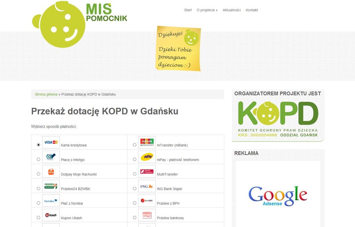 Strona www Misia Pomocnika zaprojektowana przez Entera Studio WWW - przekaż dotację