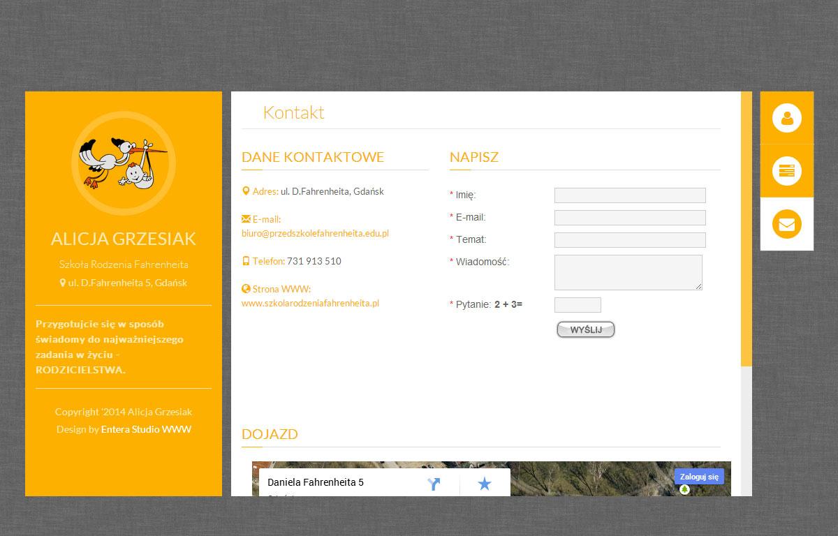 Szkoła Rodzenia Fahrenheita - strona wizytówka projektu Entera Studio WWW - oferta