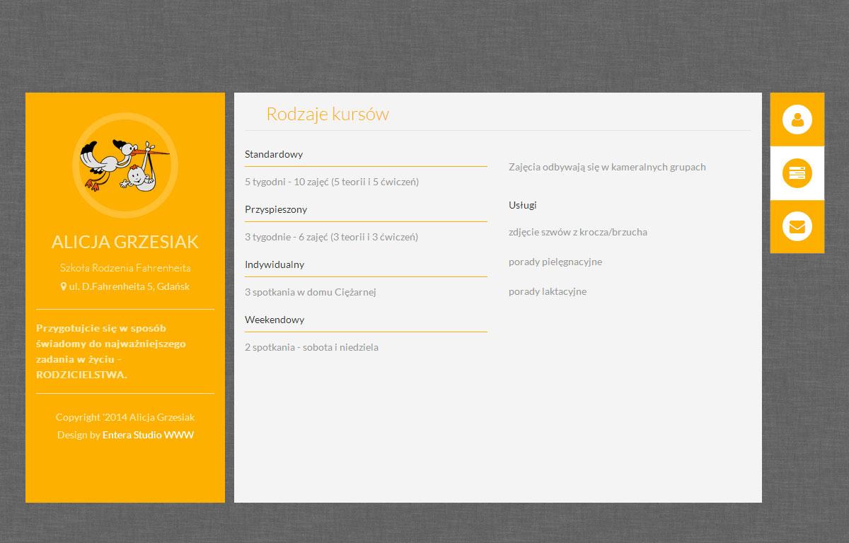 Szkoła Rodzenia Fahrenheita - strona wizytówka projektu Entera Studio WWW - kontakt