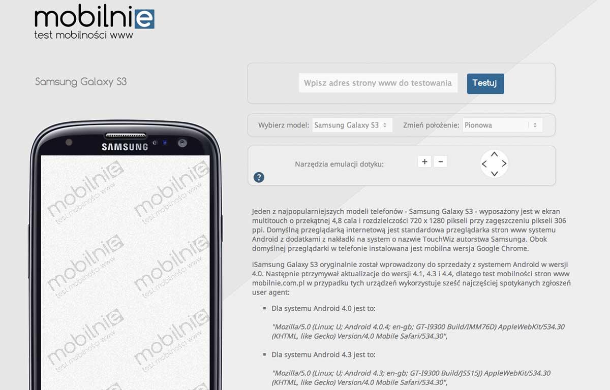 Mobilnie.com.pl - test mobilności stron www, emulator telefonu Samsung Galaxy S3