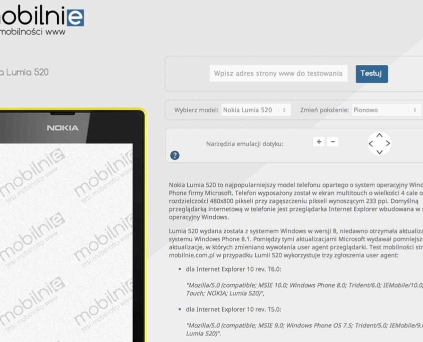 Mobilnie.com.pl - test mobilności stron www, emulator telefonu Nokia Lumia 520