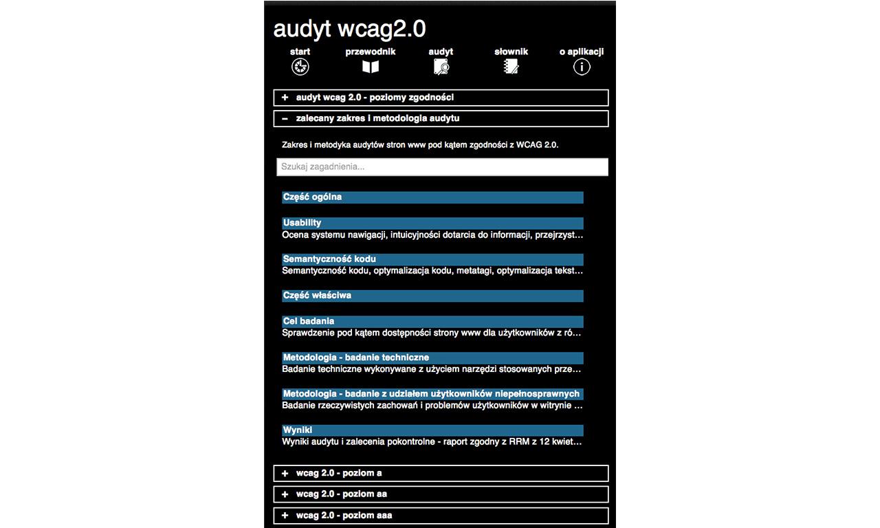 Aplikacja mobilna Pomocnik WCAG 2.0 - poziomy audytu