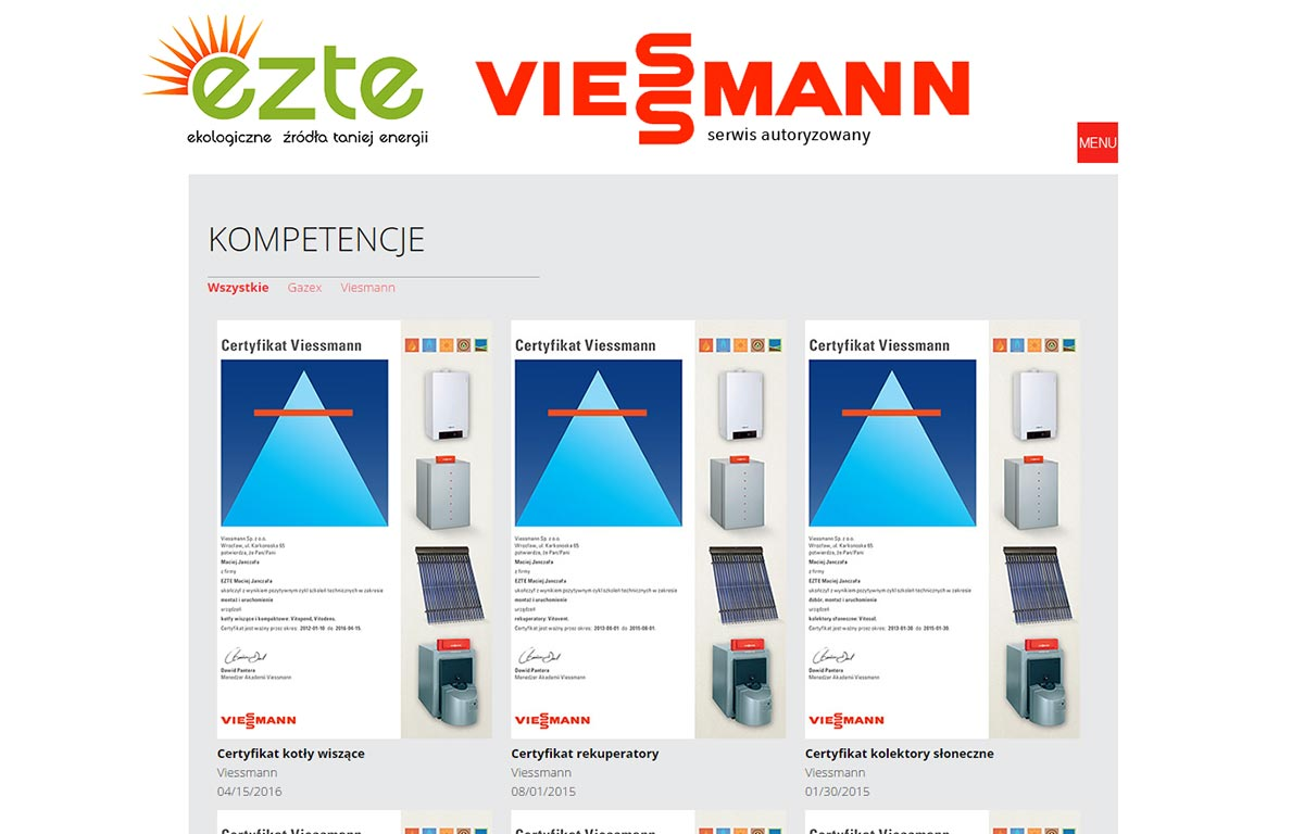 EZTE - strona www pełna energii - certyfikaty