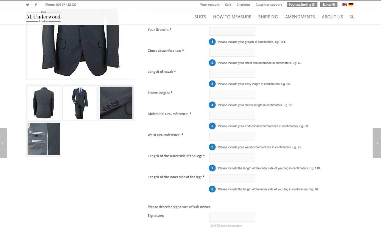 Sklep MUnderwood zaprojektowany przez Entera Studio WWW - konfigurator produktu