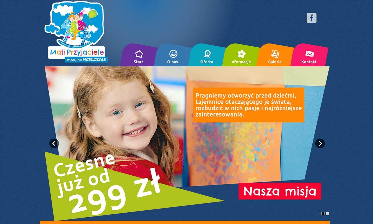 Strona www przedszkola Mali Przyjaciele - strona startowa