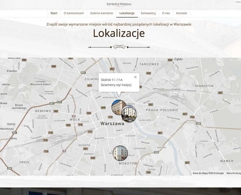 Kamienice Warszawy - strona zaprojektowana przez Entera Studio WWW - moduł lokalizacji