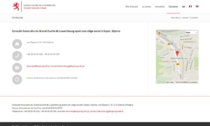 Strona www Konsulatu Honorowego Wielkiego Księstwa Luksemburga - kontakt