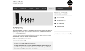 Strona www dla biura tłumaczeń My Tłumacze - rekrutacja