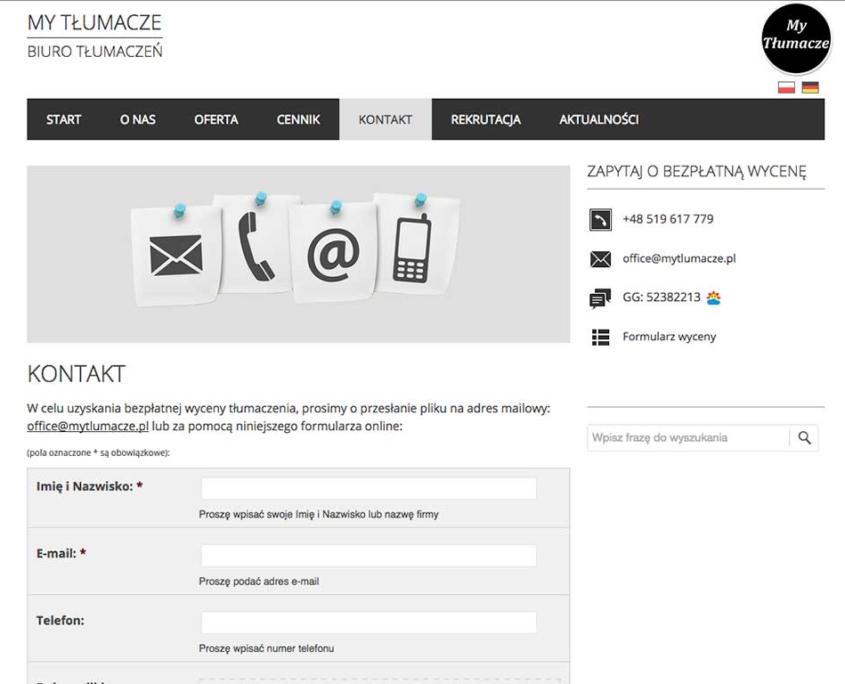 Strona www dla biura tłumaczeń My Tłumacze - dodaj pliki