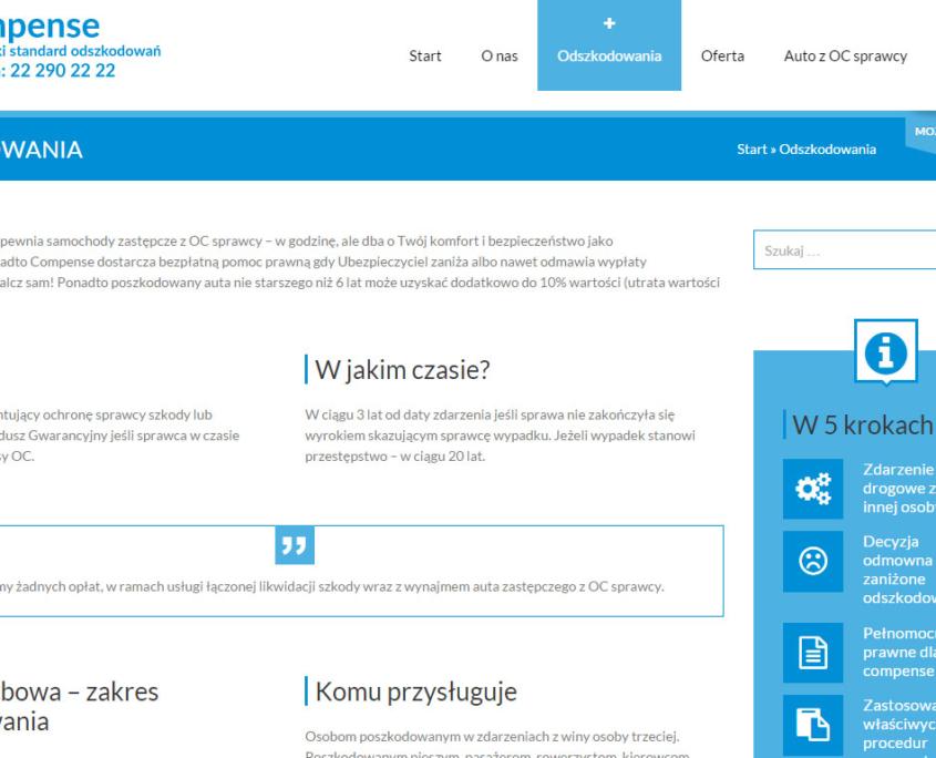 Nowa strona www Compense - poradnik