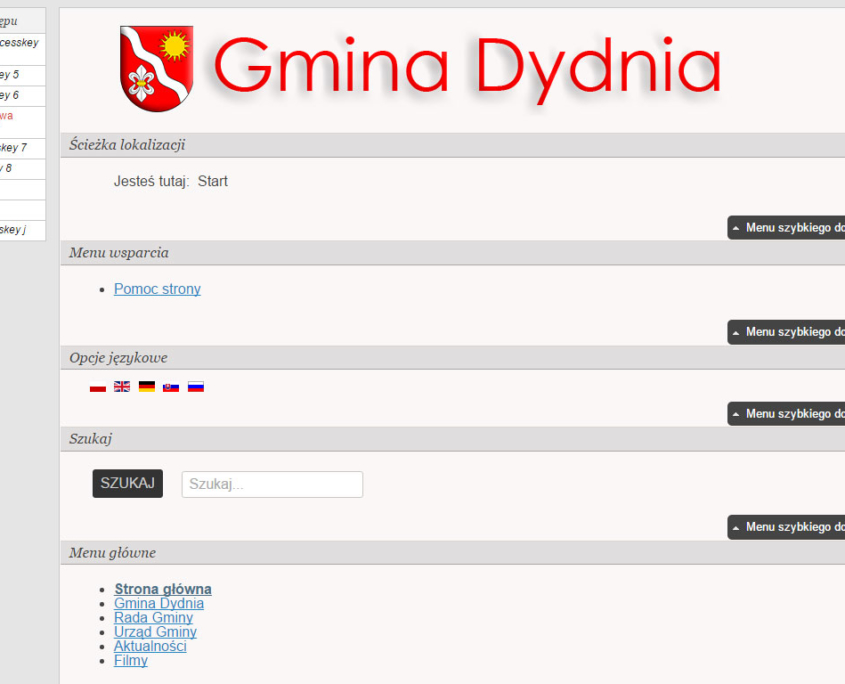 Strona WCAG 2.0 Gminy Dydnia - układ dla czytników