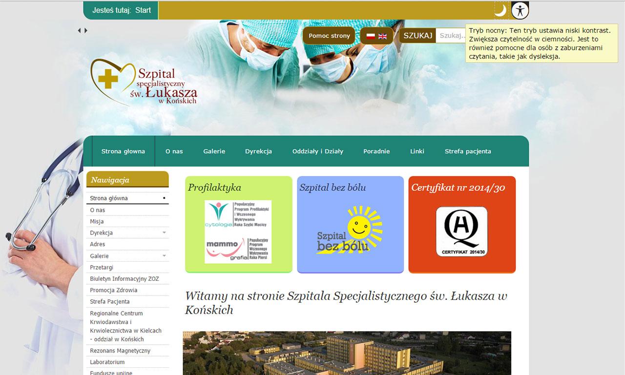 Strona WCAG 2.0 Szpitala w Końskich - układ podstawowy