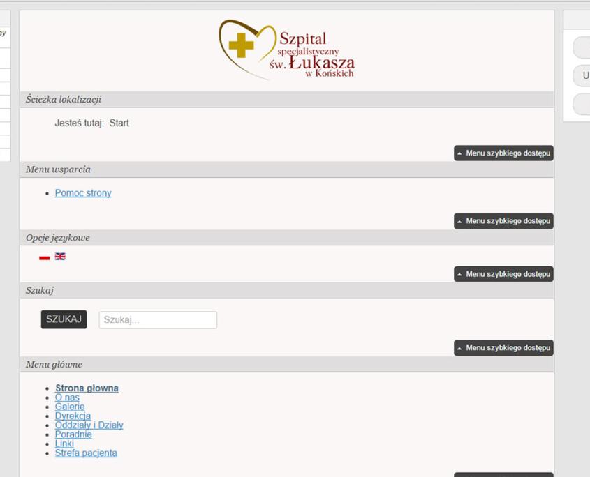 Strona WCAG 2.0 Szpitala w Końskich - układ dla czytników