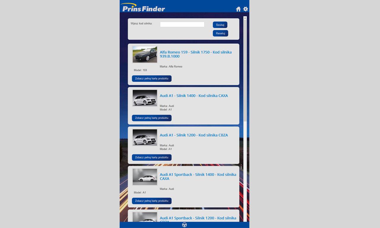 Aplikacja Prins Finder - wersja dla telefonów