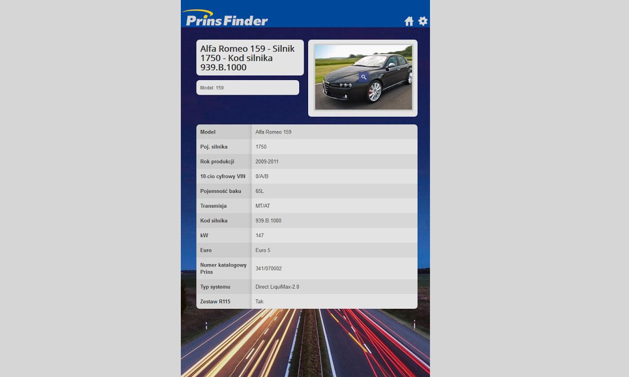 Aplikacja Prins Finder - karta produktu