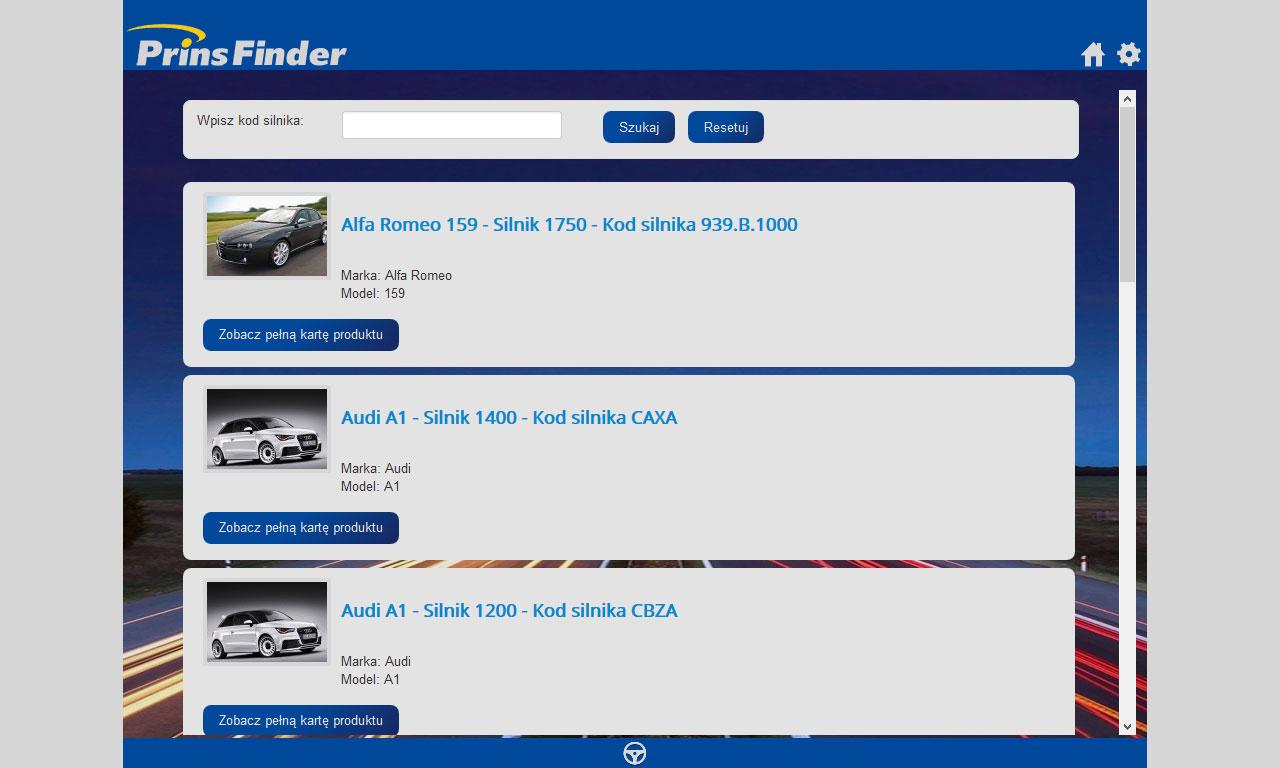 Aplikacja Prins Finder - wersja dla tabletów