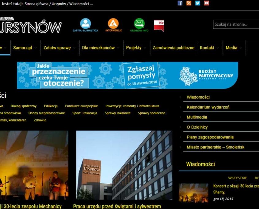 Ursynów.pl zgodny ze standardem WCAG 2.0 - wysoki kontrast