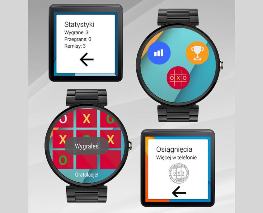 Gra Kółko i Krzyżyk na zegarki z Android Wear - layout dla zegarków okrągłych