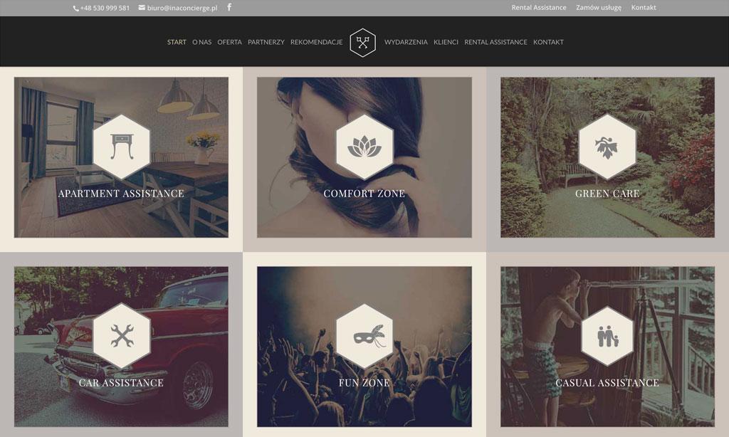 Strona www INApartments Concierge to oprócz unikalnej oprawy wizualnej także funkcje katalogowe i e-commerce.