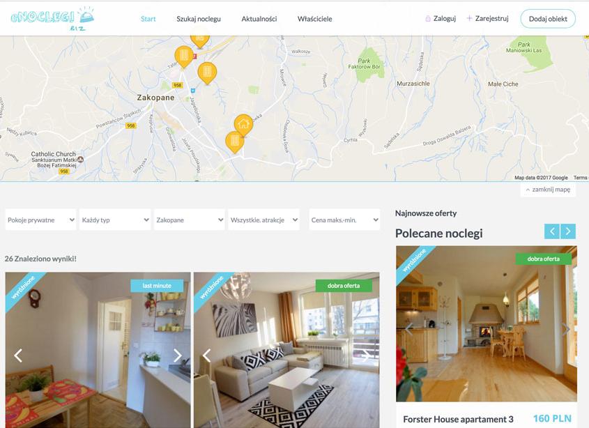 Portal pozwalający rezerwować miejsca noclegowe na południu Polski.