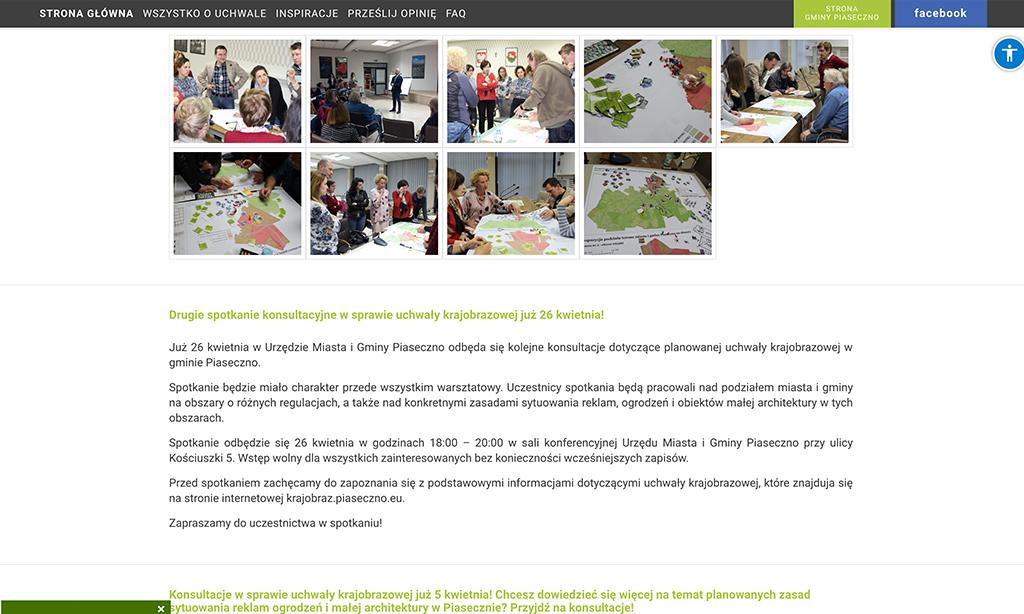 """Wyprodukowana przez nas strona www poświęcona tzw. """"uchwale krajobrazowej"""" dla Miasta i Gminy Piaseczno"""