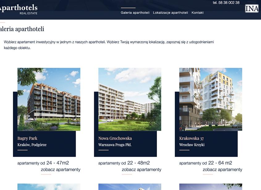 Rozbudowana strona www typu real estate - agregator mieszkaniowych nieruchomości inwestycyjnych