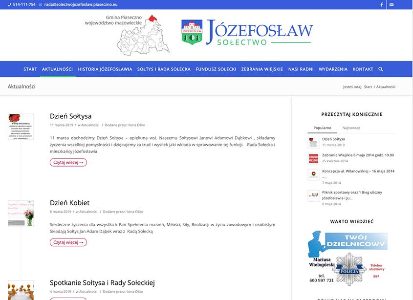 Strona Sołectwa Józefosław w województwie mazowieckim.