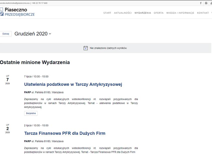 Portal Przedsiębiorcze Piaseczno - kalendarium wydarzeń