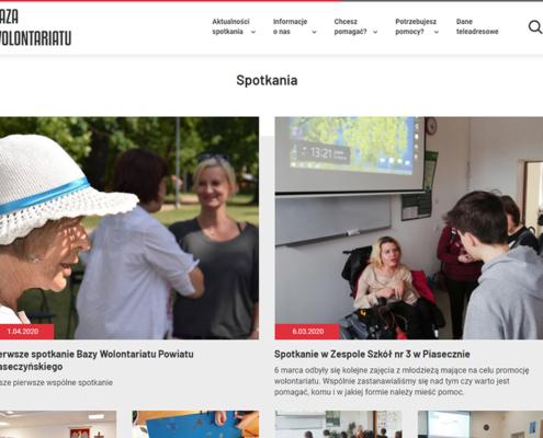 Portal Baza Wolontariatu Powiatu Piaseczyńskiego - strona główna sekcja aktualności