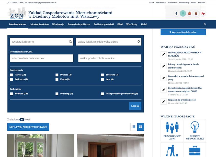 Portal Zakładu Gospodarki Nieruchomościami Mokotów Warszawa - wyszukiwarka nieruchomości