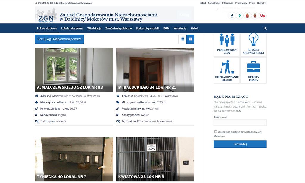 Portal Zakładu Gospodarki Nieruchomościami Mokotów Warszawa - katalog lokali